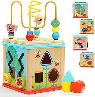 TOP BRIGHT Houten Activiteitenkubus 5-in-1 – Houten Activiteitentafel voor Peuters van 1, 2 jaar oud - Educatief Centrum m...