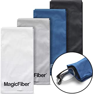 MagicFiber Microfiber Eyeglass, Cell Phone Cleaning Pouch (4 Pack) – Premium Ultra Soft Case with Built-in Cleaning Cloth