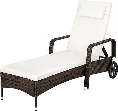 TecTake Tumbona chaise longue de poli ratán tumbona de jardín ...