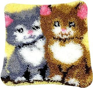 PARIO Stickpackung Katze Kissenbezug 40x40 cm Kissen Hülle Latch Hook Kit Stickbild Sticken Kreuzstich Stickerei Stricken Basteln Handarbeit Stickset für Kinder und Erwachsenen