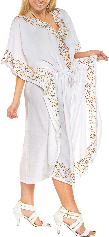 LA LEELA Women's Maxi Caftan Loungewear Nightwear Swim Cover Ups Embroidered