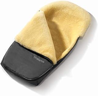 Set Hofbrucker Lammfell Fußsack Polaris für Kinderwagen & Buggy mit Stoffwindel von Kinderhaus Blaubär/Winterfusssack geeignet für BUGABOO oder JOOLZ/medizinisches Lammfell, Design:grau