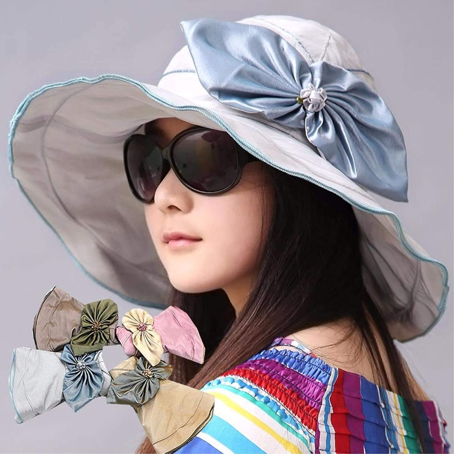 Chuiqingnet The hat female summer visor outdoor large along the hat beach hat sun hat sun hat can be folded to cool Cap