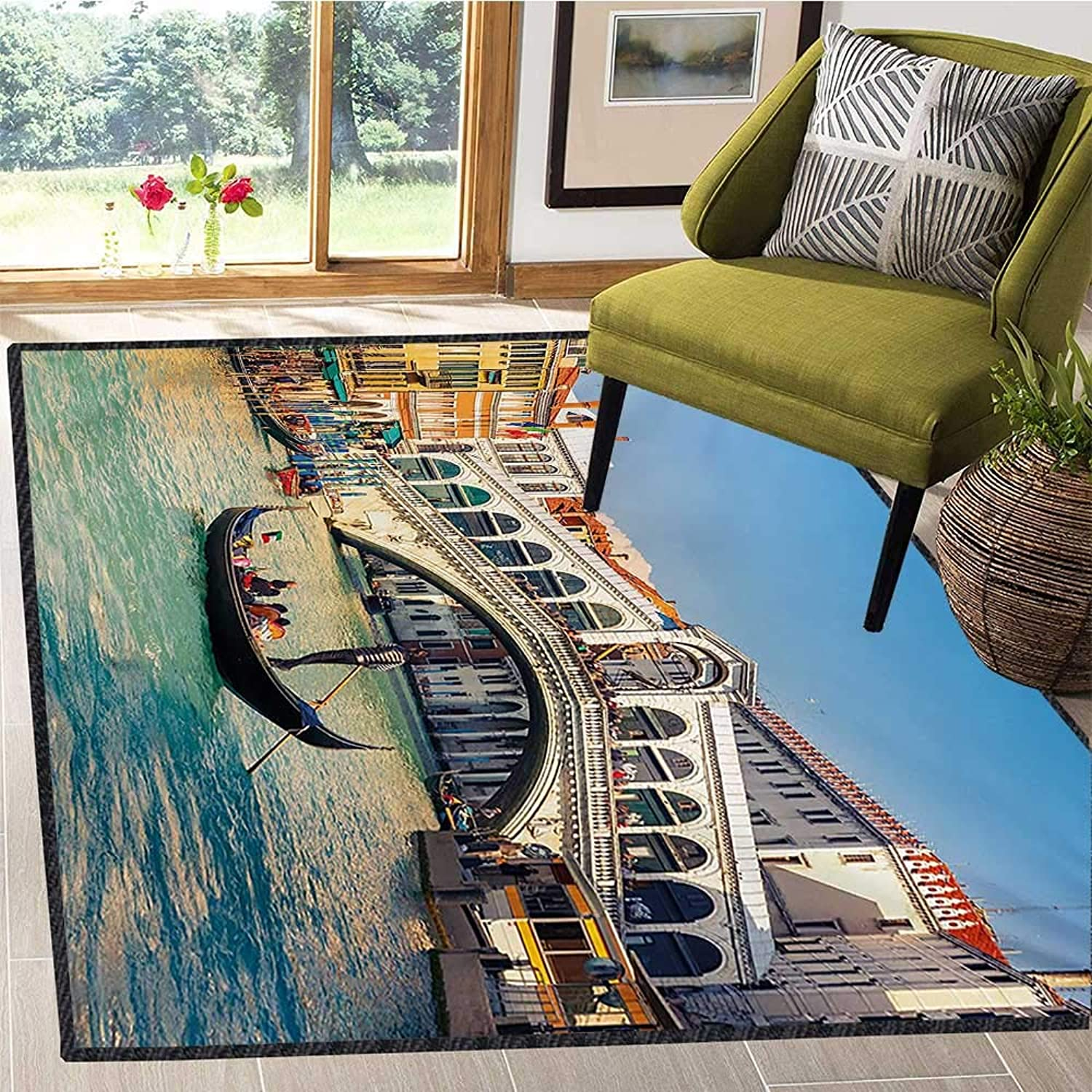 Venice, Door Mats for Inside, Cityscape on a Sunny Day with Rialto Bridge Venetian Grand Canal Travel Destination, Door Mat Indoors 5x6 Ft Multicolor