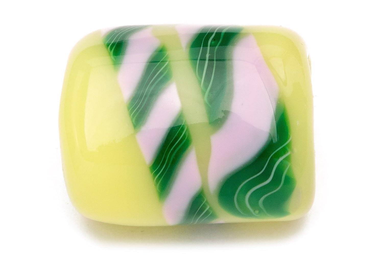 (ソウビエン) 帯留め 翠嵐工房 薄黄色 イエロー 緑 グリーン ピンク 縞 縄目 螺旋 蜻蛉玉 とんぼ玉 ガラス玉 カジュアル 帯どめ 和装小物 日本製
