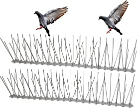 Flexible Stainless Steel Bird Spikes with Plastic Base, 5 Foot Coverage 3 Strips Barrier for Pigeons and Other Small Birds (5ft (3 Strips))