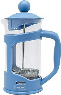 Nerthus FIH 791 French Plunger Coffee Maker, PP/Borosilicate Glass/SS, Blue, 350 ml