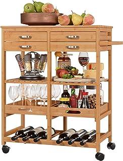 Homfa Carro Cocina Auxiliar Carrito de Servicio Bambú Estantería Almacenaje Frutas Verduras para Cocina Salón con 4 Ruedas...