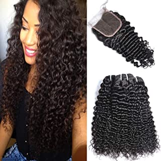 GEM Beauty Curly Wave Brazilian Hair Bundles With Closure Deep Curly Weave Human Hair 3 Bundles With Closure Natural Black 14 with 18 20 22 inch