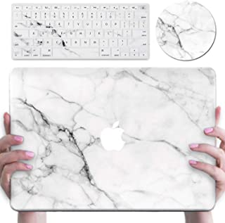 MacBook Air 13 Inch Case A1369/A1466, DEENAKIN Shock-Proof Anti-Scratch with White Marble Design,Plastic Hard Shell Protective Case Keyboard Cover Mouse pad White Marble