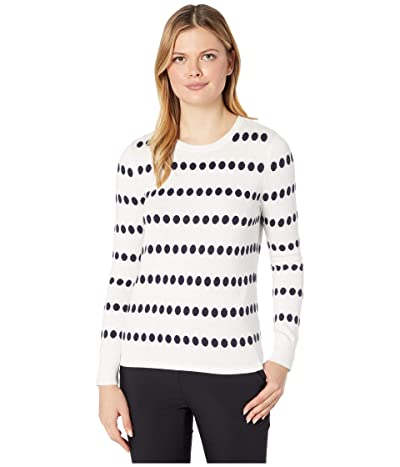 Vince Camuto Long Sleeve Dot Jacquard Crew Neck Sweater (Pearl Ivory) Women