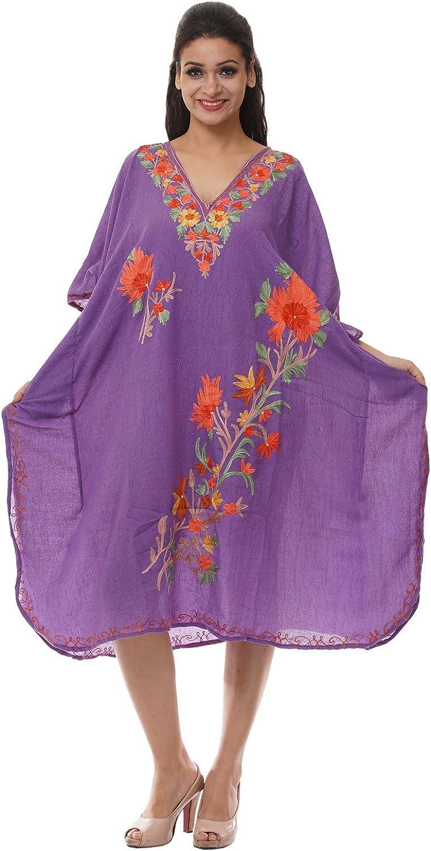 Odishabazaar Kashmiri Embroidered Womens Beachwear Cover up Swimsuit Swimwear Dress Caftan(uik-293)