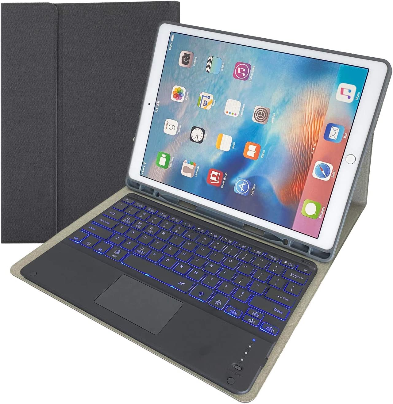 NB Keyboard Case (Touch Mouse Keyboard) for iPad Pro 12.9 (2015/2017), 7-Color Backlit Keyboard Cover with Pencil Holder for iPad Pro 12.9 (2015/2017)