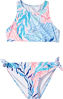 2120f1ab08 Lilly Pulitzer Kids. UPF 50+ Juliet Swimsuit (Toddler/Little Kids/Big  Kids). $68.00. Crew Blue Tint Kaleidoscope Coral