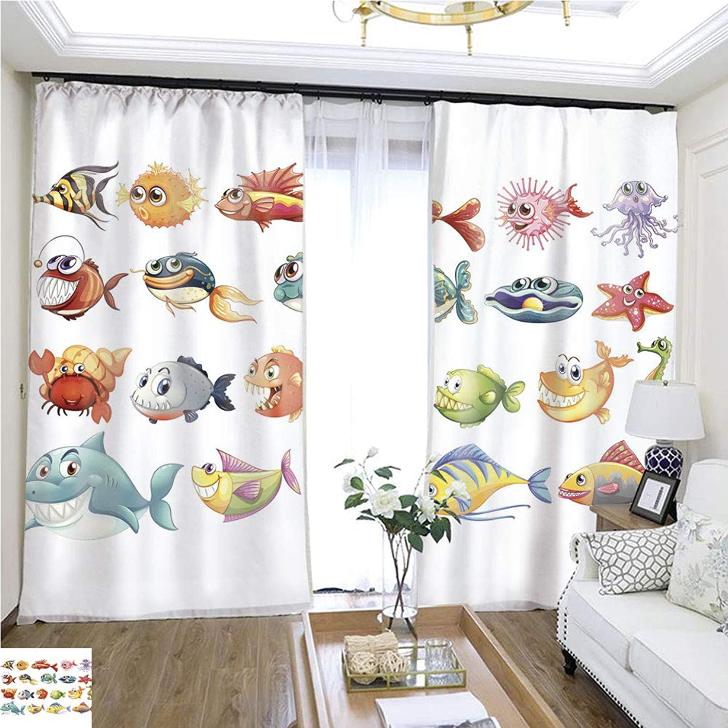 Air Port Screen Fish set1 W108 x L82 Reduce Noise Highprecision Curtains for bedrooms Living Rooms Kitchens etc.