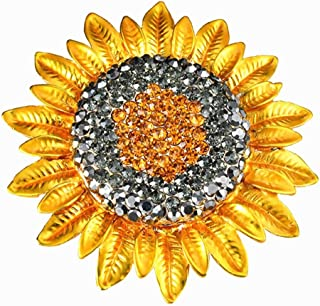 EatingBiting(R) Gold Tone Grey Orange Yellow Classical Hi-Q stone & alloy Crystal Sunflower Brooch Pin for Women Lady Gift Active and lively symbol on a clothing,costume,dress,scarf,hats or shawls.bag