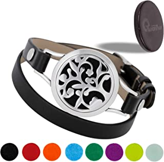 EMF Protection Bracelet With Black Tourmaline Crystal Disk 3025 Negative Ions - (2 in 1) Unique Anti EMF Shield for Cell Phone, Laptop for a Modern Woman who Also Loves Essential Oil Bracelets