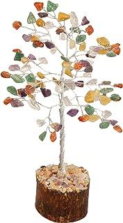Crocon Mix Chakra Gemstone Money Tree Feng Shui Bonsai for Reiki Healing Stone Balancing Energy Generator Spiritual Home Interior Office Decor Size: 7-8 Inch