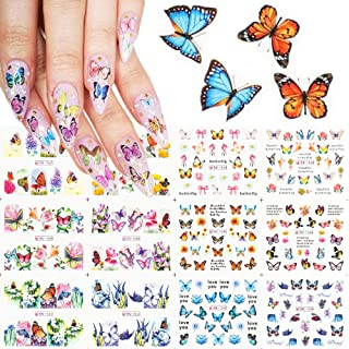 Macute 12 Design Butterfly Nail Art Stickers Polish Sliders Flowers Full Cover Nail Water Transfer Decals Tattoo Foils for...