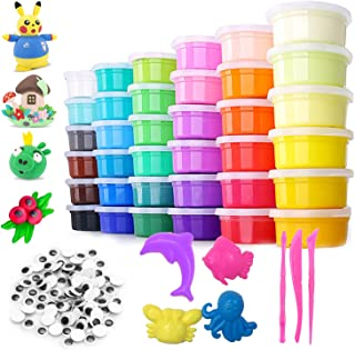 Unicorn Queen Air Dry Clay Set 48 Ultra Light Clay Slime Non-Toxic Blocks Magic Clay Arts Crafts Activity Party Gift for A...