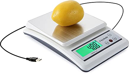 Yizish Digital Kitchen Scale (USB Cable + Batteries Powering), 10Kg / 1g, Multifunction Food Meat Scale, Stainless Steel Platform with LCD Display for Baking Cooking