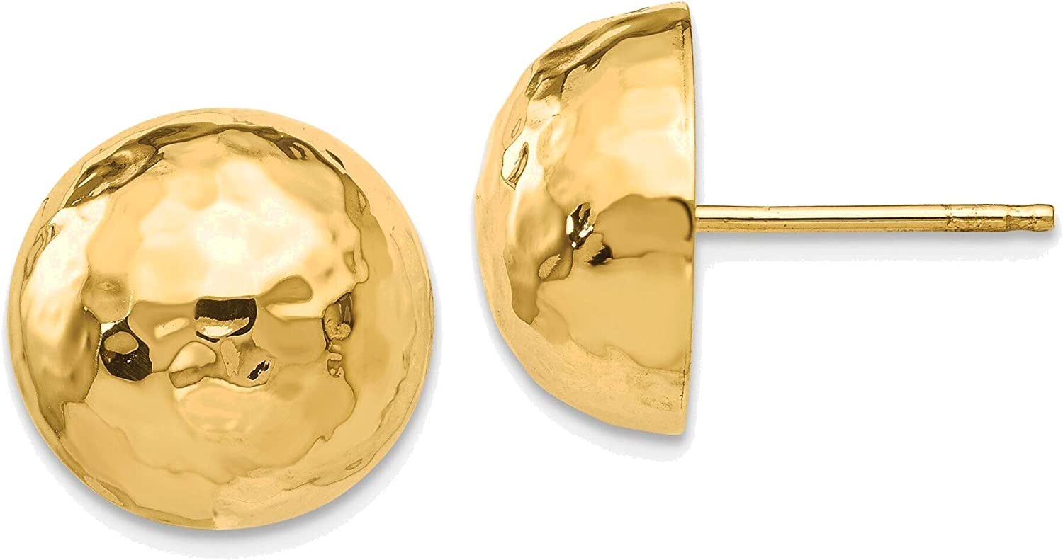 Hammered Half Ball Post Earrings in 14K Yellow Gold