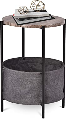 Allewie Round Side Table with Fabric Storage Basket/Industrial End Table/Bedside Table/Coffee Table with Metal Frame/Accent T