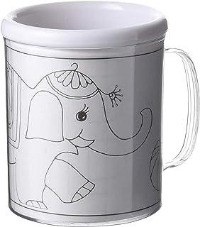 FUN FAN LINE - Tasse en Plastique pour Enfants avec 3 modèles colorés et des Crayons de Couleur. Tasses pour Enfants ou bé...