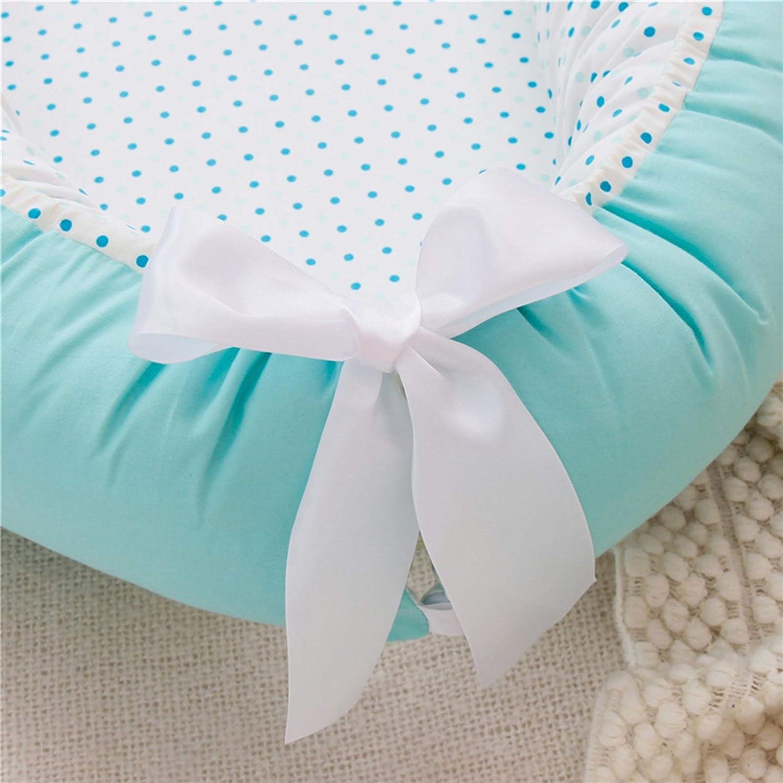 WUQIANG Nid Bébé Baby Lounger 100% Soft Soft Cotton Double-né Coton Parfait for CO Dormir, Lit bébé Portable Lit bébé Convient à 0-24 Mois Enfant (Color : Yellow) Blue