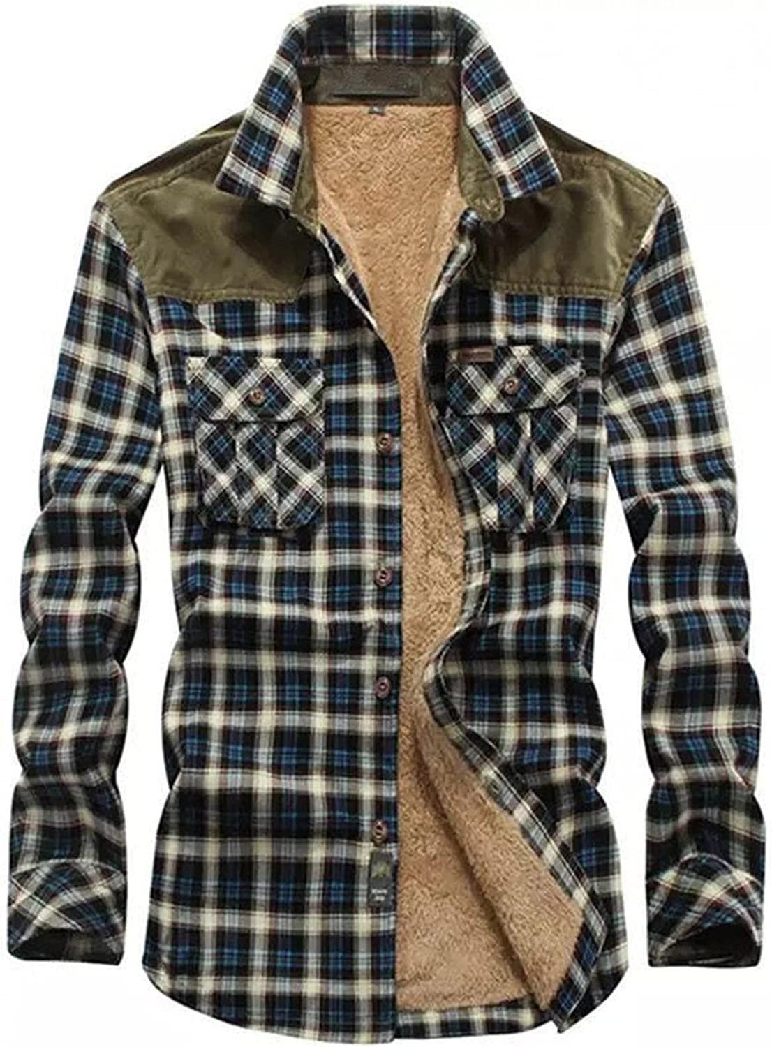 Mens Sherpa Lined Fleece Flannel Shirt Jackets Casual Long Sleeve Plaid Button Down Shirts Winter Warm Coats for Mens