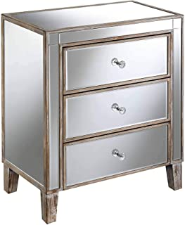 Convenience Concepts Gold Coast 3 Drawer Mirrored End Table, Weathered White