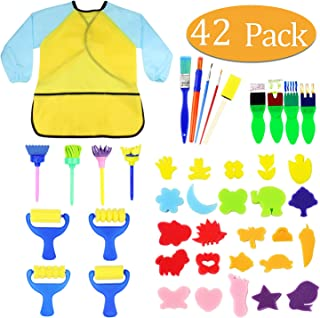 Kids Early Learning Sponge Painting Brushes Kit, 42 Pieces Sponge Drawing Shapes Paint Craft Brushes for Toddlers Assorted Pattern, Including Children Waterproof Art Painting Smock Apron