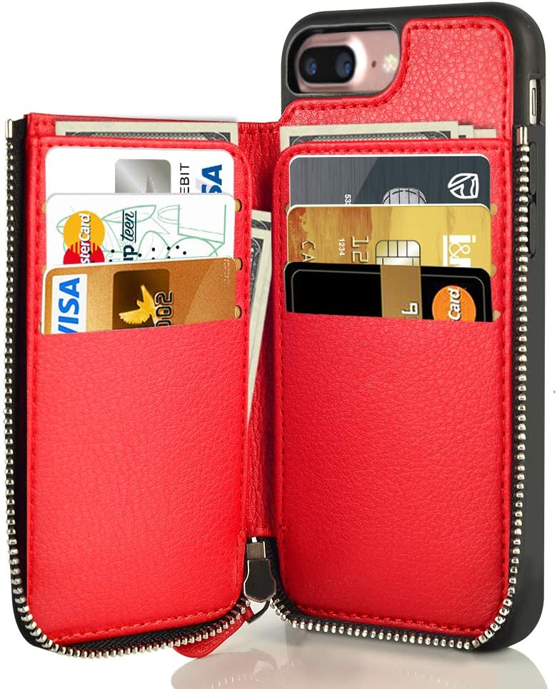 LAMEEKU Zipper Wallet Case for Apple iPhone 8 Plus & 7 Plus, RFID Blocking Protective Leather Card Holder Case with Zipper Credit Card Slot, Bumper Phone Cover for iPhone 7 Plus/iPhone 8 Plus 5.5