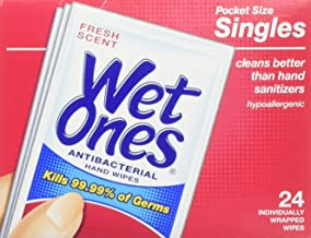 Wet Ones Wet-4721 Antibacterial Hand and Face Wipes Singles, 24-Count (Pack of 5)