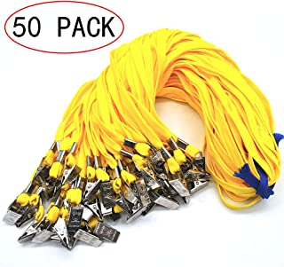 Lanldc 32-Inch Cotton Neck Lanyards for Id Badges with Clip,50 Pack for Office ID Name Tags and Badge Holders Attachment (Yellow)