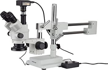 AmScope 7X-45X Simul-Focal Stereo Zoom Microscope on Boom Stand with an LED Ring Light and 18MP USB3 Camera