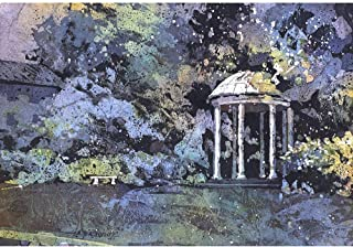 Watercolor batik painting of Old Well on University of North Carolina (UNC)- Chapel Hill, NC. 12x18