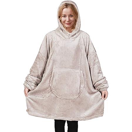 Flanell Fleece Hoodie Decke Sweatshirt Wearable Decke Super Soft Warm Cosy Giant Hoody Große Fronttasche One Size for All,Grau