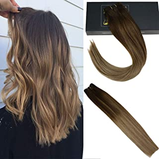 Sunny Sew In Hair Extensions Human Hair Dark Brown Fading to Lightest Brown Mixed Dark Honey Blonde Weft 100% Human Hair 100g 18inch