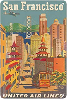 Pacifica Island Art San Francisco, California - United Air Lines - Cable Car in Chinatown - Vintage Airline Travel Poster ...