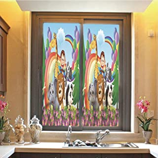 Nursery 3D No Glue Static Decorative Privacy Window Films, Group of Animals at The Hilltop with a Rainbow and Balloons Fresh Garden Happy,17.7