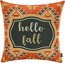 TRENDIN 18 X 18 Vintage Colorful African Style Geometric Hello Fall Words Burlap Linen Cushion Cover Pillow Case(PL059TR)