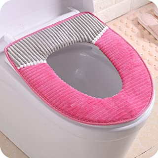 Flurries Toilet Seat Cover Pads - Universal Coral Velvet Soft Washable Warmer Thicker Winter Mat Cushion Lid Cover Case Protector Closestool