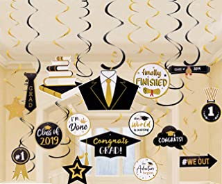 Graduation Party Supplies Decorations 2019 Hanging Swirls Streamers Black and Gold, 30PCS