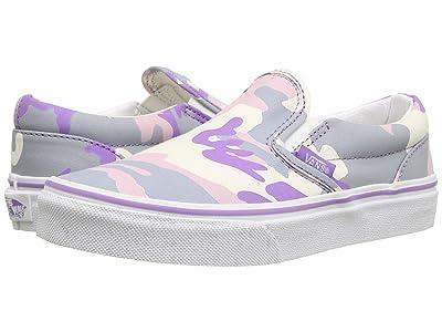 Vans Kids Classic Slip-On (Little Kid/Big Kid) ((Pastel Camo) Fairy Wren/Marshmallow) Girls Shoes