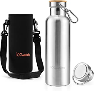 Stainless Steel Water Bottle, Insulated Flask with Bamboo Cap (2 Drinking Caps) - iParaAiluRy BPA Free Water Bottle 500/750/1000m - Vacuum Insulated Double Walled Hot and Cold Drinking Flask for Outdoor, Camping, Beach, Yoga, Travel