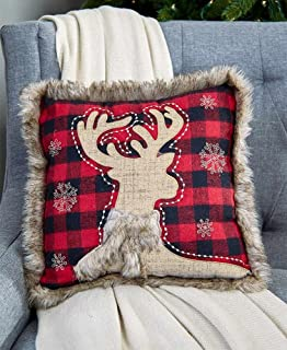 faux fur trim plaid pillow