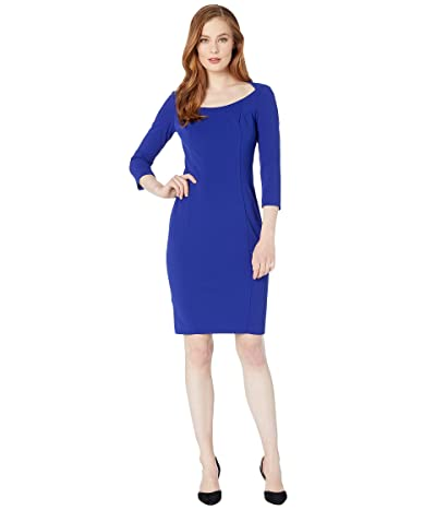 Calvin Klein 3/4 Sleeve Sheath Dress w/ Open Neck (Ultramarine) Women