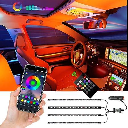 YWZQ Auto Interior Decor Striscia Luce App Controllo 4//5//6 in 1 Fibra Musica Ambiente Kit di Illuminazione Regolabile Multi Modalit/à
