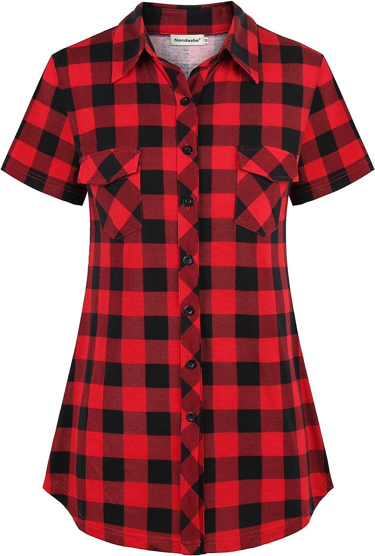 Nandashe Women's Short Sleeve Plaid Shirt Button Down Blouse Collared Tunic Tops
